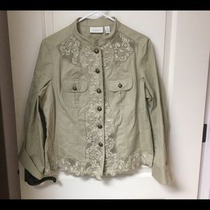Chico's Light Jacket with Lace  Size 1 EUC
